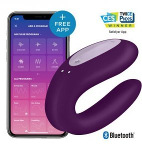 Zdalny Wibrator Satisfayer Double Joy Violet incl. Bluetooth and App