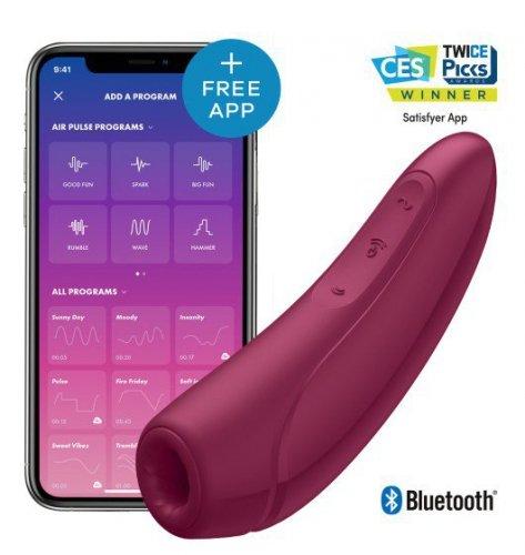Zdalny stymulator łechtaczki- Satisfayer Curvy 1+ Rose Red incl. Bluetooth and App Silne wibracje- 2 mocne silniczki. Razem lub solo.