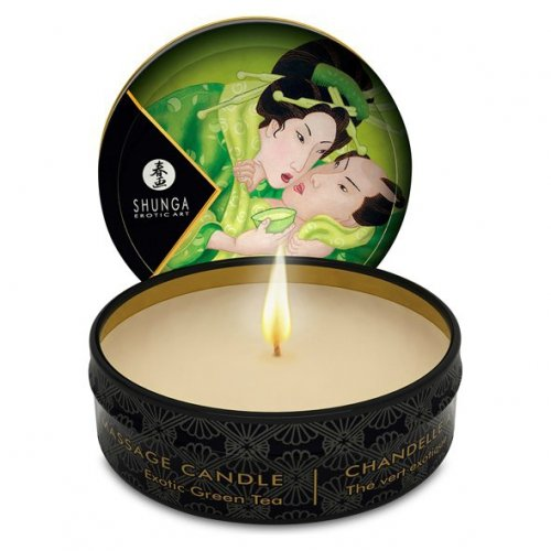 Świeca do masażu - Shunga Massage Candle  Green Tea 30 ml Zielona Herbata