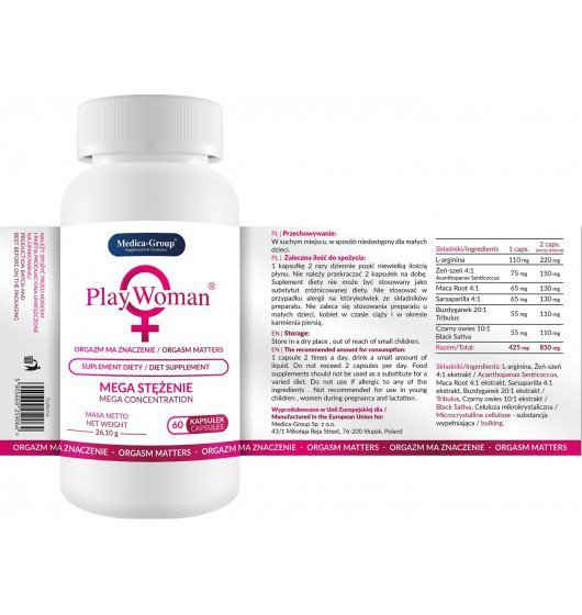 PlayWoman 60 kaps. - Suplement diety na pobudzenie orgazmu