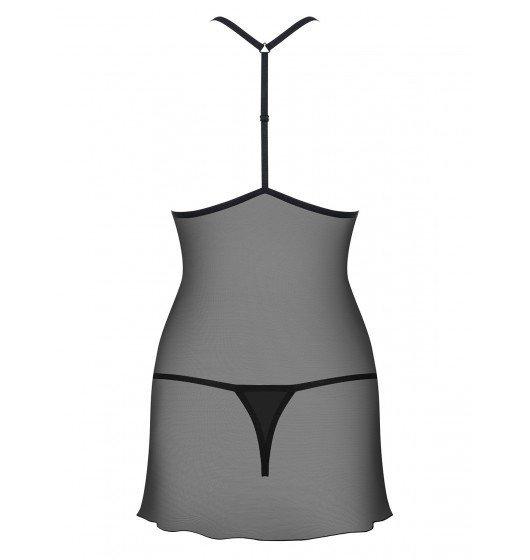 Kusząca koszulka i stringi Obsessive  czarna  S/M