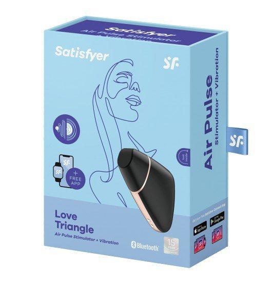 Zdalny stymulator łechtaczki - Satisfayer Love triangle black incl. Bluetooth and App. Steruj swoją przyjemnością. Razem lub solo.