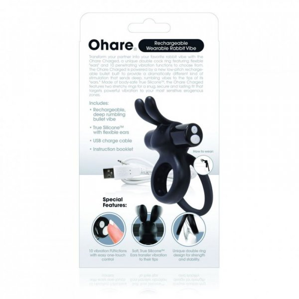 Pierścień wibrujący - The Screaming O Charged Ohare Rabbit Vibe Black