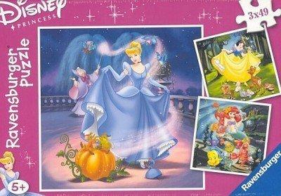 Puzzle 3 x 49 elementów księżniczki