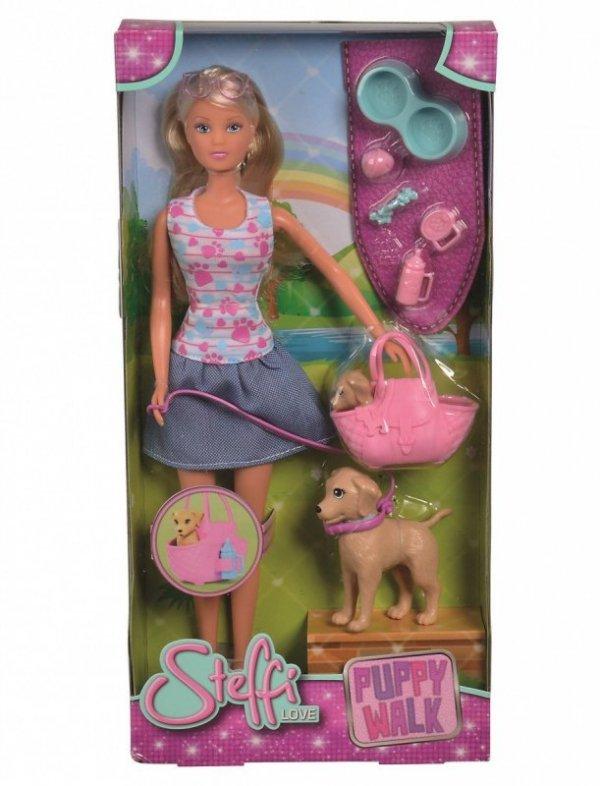 Lalka Steffi na spacerze z psami
