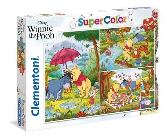 Puzzle 3x48 elementów Super Kolor Kubuś Puchatek