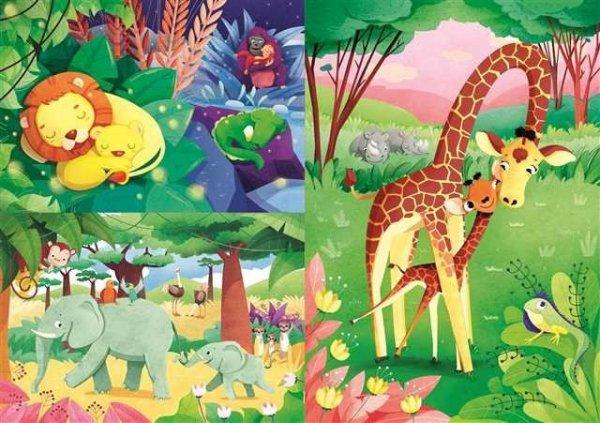 Puzzle 3x48 elementów Super Kolor Jungle Friends