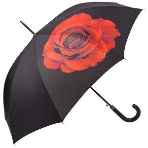 Róża - parasol długi ze skórzaną rączką