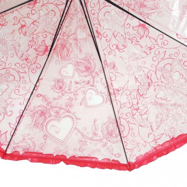Serduszka - parasolka przezroczysta z falbanką