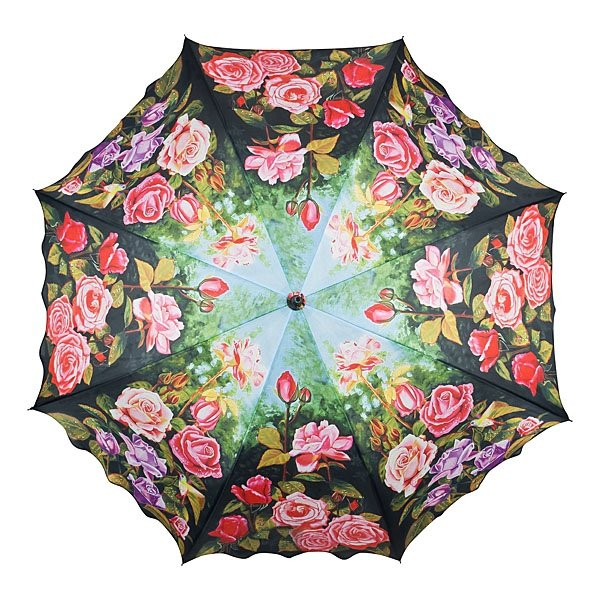 Różany ogród - Parasol długi ze skórzaną rączką