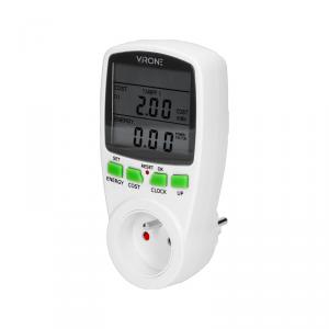 Dwutaryfowy watomierz, kalkulator energii z wyświetlaczem LCD, 2 oddzielne taryfy, wewnętrzny akumulator