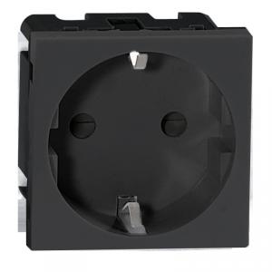 NOEN GS, gniazdo modułowe 45x45mm 1x2P+Z, typ F schuko, 16A 250V, czarne