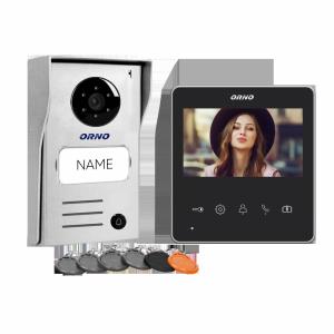 Zestaw wideodomofonowy 2-żyłowy bezsłuchawkowy, kolor, 4,3 LCD,  z czytnikiem breloków zbliżeniowych, czarny, NAOS RFID