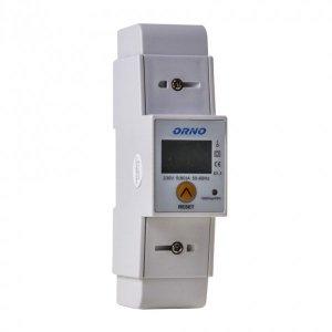 1-fazowy wskaźnik zużycia energii elektrycznej, 80A, dodatkowy wskaźnik, wyjście impulsowe, przycisk RESET, 2 moduły, DIN TH-35m