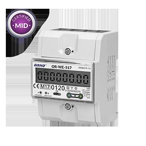 3-fazowy licznik energii elektrycznej, 80A, port RS-485, wielotaryfowy, 3 moduły, DIN TH-35mm