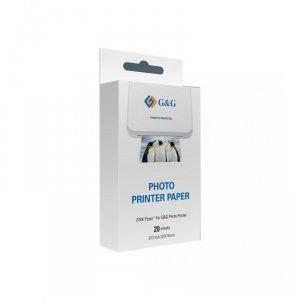 Papier fotograficzny ZINK GG-ZP023-20 do drukarek Canon, G&G, Huawei, HP, Polaroid, Xiaomi (50 mm x 76 mm; 20 szt)