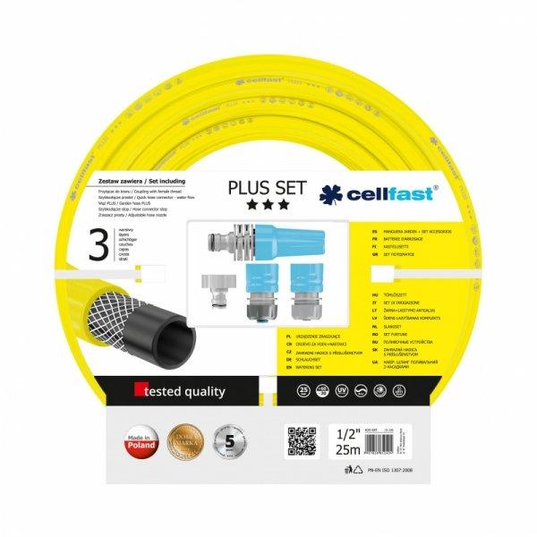 CF10290 Zestaw zraszający do podlewania  z wężem 1/2 cala, rolka 25m, CellFast