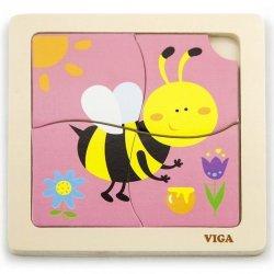VIGA Poręczne Drewniane Puzzle Pszczoła