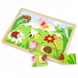 VIGA Drewniane Puzzle Życie na Łące Park 16 elementów