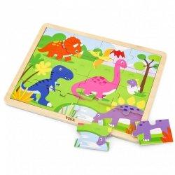 VIGA Drewniane Puzzle Dinozaury 16 elementów