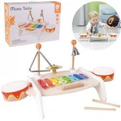 CLASSIC WORLD Zestaw Instrumenty Muzyczne dla Dzieci Ksylofon Tarka Cymbałki Bębenki Talerz Pałeczki Trójkąt Dzwonek 9 el.