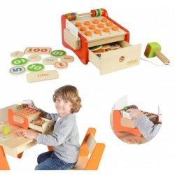 Drewniana Kasa Sklepowa Dla Dzieci + Pieniądze i Karta Kredytowa Masterkidz