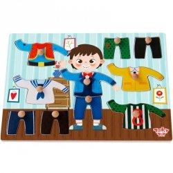 TOOKY TOY Drewniane Puzzle Układanka z Pinezkami Ubrania Chłopiec