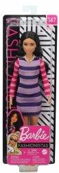 Lalka Barbie Fashionistas Fioletowa sukienka w paski