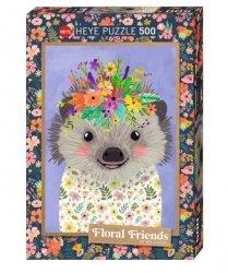 Puzzle 500 elementów Floral Friends, Jeż, Mia Charro