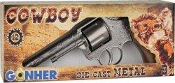 Rewolwer kowbojski metalowy 12 naboi Gonher