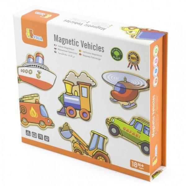 Viga Drewniane magnesy pojazdy zestaw