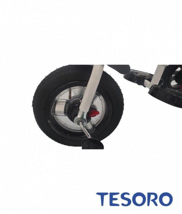 Rowerek trójkołowy  pompowane koła/wolne koło BT-10 Czarna rama - niebieski