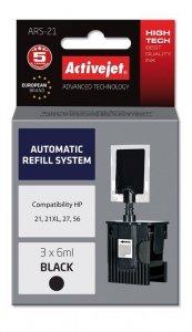System uzupełnień Activejet ARS-21 (zamiennik HP21, HP27, HP 56 ; 3 x 6 ml; czarny)
