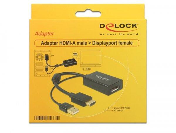 DeLOCK 0.245m HDMI+USB2.0-A/DisplayPort 0,254 m HDMI + USB Czarny