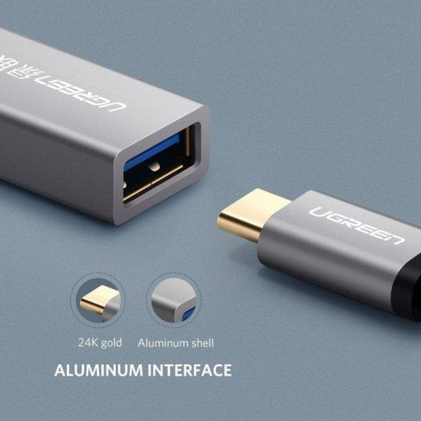 Adapter OTG USB-C 3.0 UGREEN (aluminiowy) czarny
