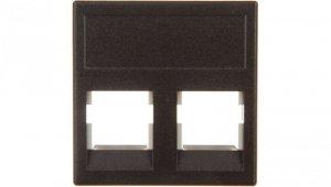 Simon Connect Płytka K45 gniazda teleinformatycznego podwójnego 2xRJ płaska szary grafit KB076/14