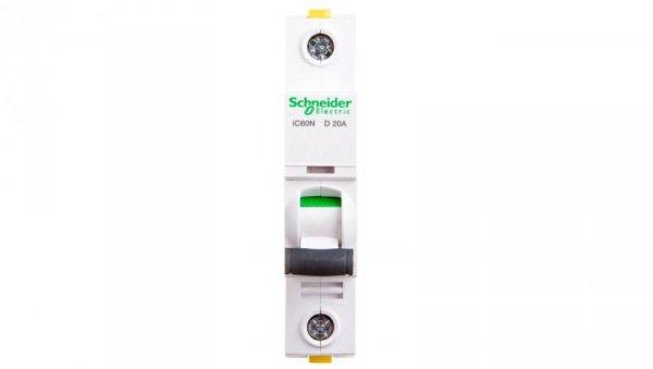 Wyłącznik nadprądowy 1P D 20A 6kA AC iC60N-D20 A9F05120