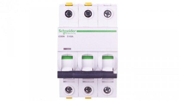 Wyłącznik nadprądowy 3P D 63A 6kA AC iC60N-D63-3 A9F05363