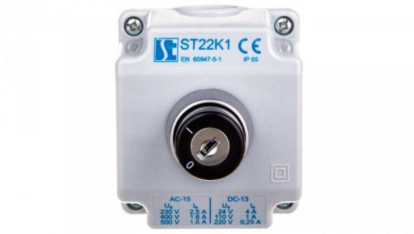 Kaseta sterownicza 1-otworowa przełącznik I-II kluczyk 1Z szara ST22K107-1