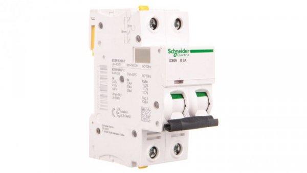Wyłącznik nadprądowy 2P B 2A 6kA AC iC60N-B2-2 A9F03202