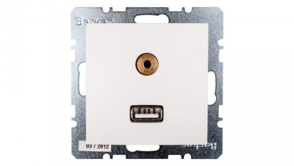 Berker/B.Kwadrat Gniazdo USB 3,5mm Audio śnieżnobiałe 3315398989