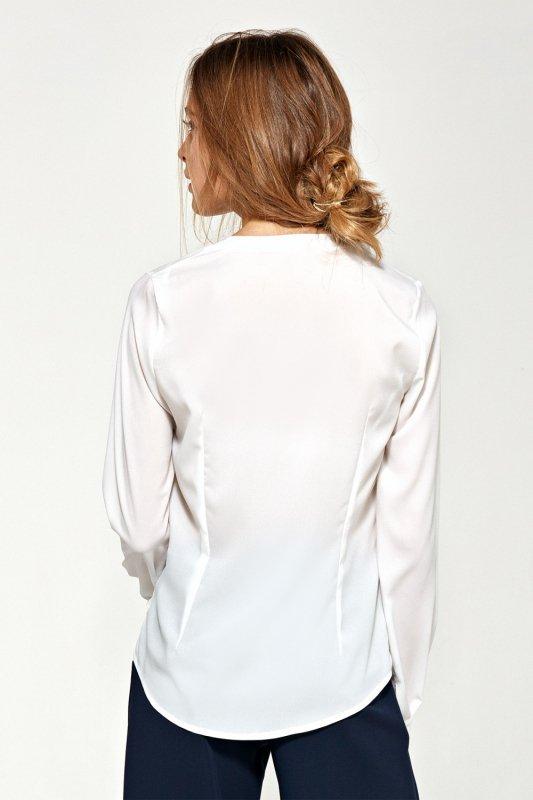 Bluzka z asymetrycznymi falbanami B89 Ecru - Nife