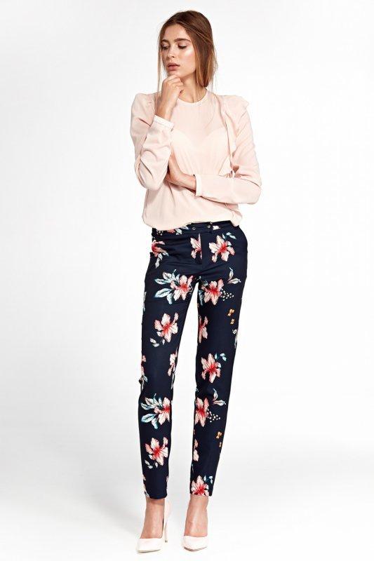 Klasyczne spodnie z lekko zwężanymi nogawkami SD33 Navy/Flowers - Nife
