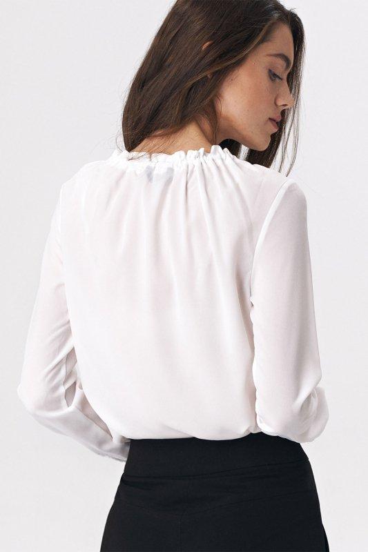 Bluzka z dziewczęcym wiązaniem B114 Ecru - Nife