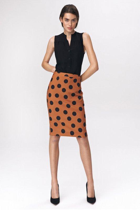Spódnica Ołówkowa spódnica w grochy SP48 Brown - Nife