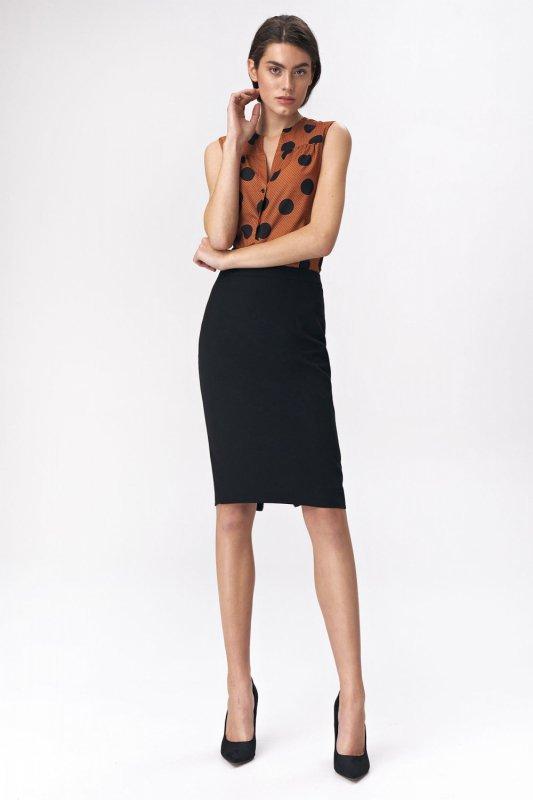 Spódnica Ołówkowa spódnica z dekoracyjnym zamkiem SP47 Black - Nife