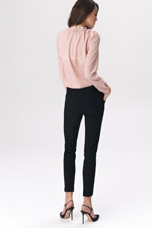 Spodnie Czarne spodnie zapinane na napy SD37 Black - Nife