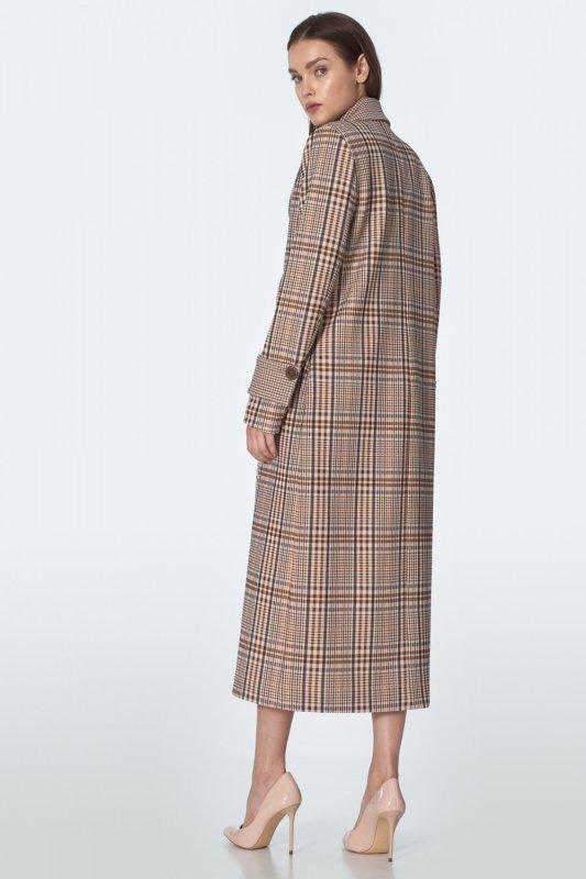 Dwurzędowy płaszcz w beżową kratę PL11 Beige/Krata - Nife