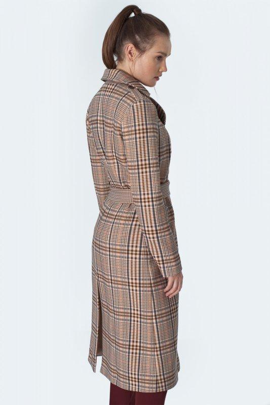 Dwurzędowy płaszcz z paskiem w beżową kratę PL10 Krata/Beige - Nife