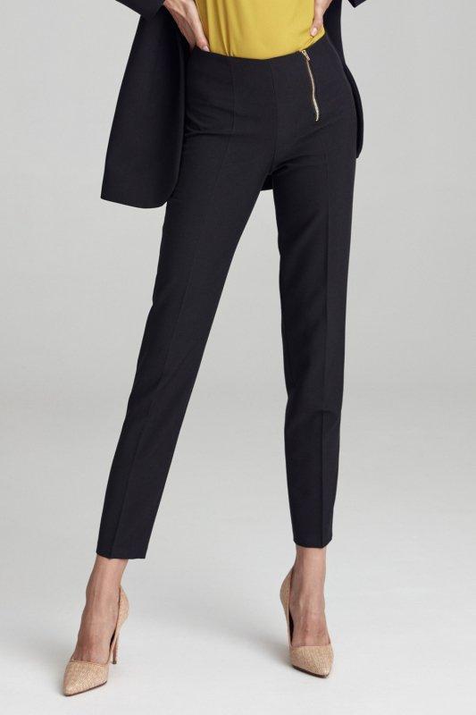 Spodnie Klasyczne czarne spodnie ze złotym zamkiem SD56 Black - Nife